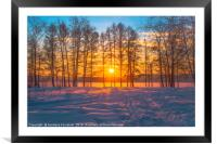 Winter sunset, Framed Mounted Print