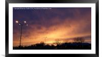 Sunset over the parking lot , Framed Mounted Print
