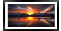Burning Skies Over Derwent Water, Framed Mounted Print