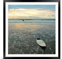 Playa Tamarindo, Costa Rica,  Surf and Sunset, Framed Mounted Print