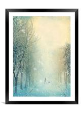 Winter Stroll, Framed Mounted Print