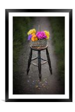 Basket of Flowers, Framed Mounted Print