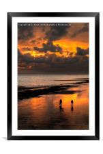 Sunset walkers on Worthing Beach, Framed Mounted Print