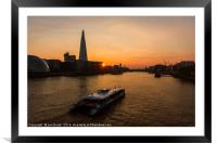 Sunset Cruise on the River Thames, Framed Mounted Print