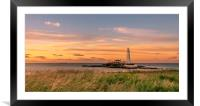 Sunset at St. Mary's Lighthouse, Framed Mounted Print