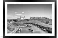Harbour view in Black and White, Framed Mounted Print