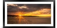 Sunburst and Bamburgh Beach, Framed Mounted Print