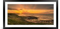 Sunset at Bamburgh, Framed Mounted Print
