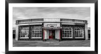 Rendezvous Cafe Beside the Sea Selective Colouring, Framed Mounted Print