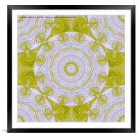 Beautiful green and white fractal quilt texture, Framed Mounted Print