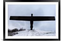 Angel of the North in the snow, Framed Mounted Print