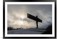 Angel of the North in the snow , Framed Mounted Print