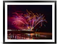 Worthing Pier Fireworks , Framed Mounted Print