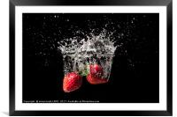 Strawberry fruit big splash into water, Framed Mounted Print
