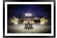 Cromer pier at night looking towards town, Framed Mounted Print