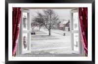Beautiful winter scene through an open window, Framed Mounted Print