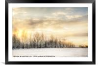 Fire sky over snow fields, Framed Mounted Print
