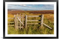 Peak District moors in the High Peak above Buxton , Framed Mounted Print