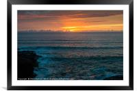 Sunset at Polzeath Cornwall, Framed Mounted Print