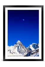 Moon above the French Alps against a deep blue sky, Framed Mounted Print