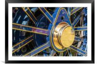 Blue and brass steam traction engine wheel, Framed Mounted Print