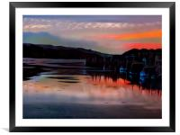 Sunset Hayle Harbour Cornwall , Framed Mounted Print
