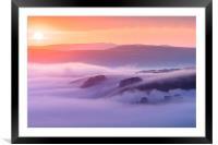 Peveril Castle sunrise, Framed Mounted Print