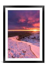 Sunrise over a winter wonderland, Derbyshire, UK , Framed Mounted Print