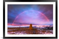 Winter rainbow over Mam Tor summit, Derbyshire, Framed Mounted Print