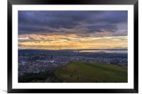 Twilight over the city of Edinburgh, Framed Mounted Print