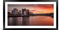 Sunset Over The Tyne, Framed Mounted Print