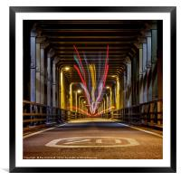 Bus Trails on the High Level Bridge, Framed Mounted Print