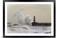 Wave Attack at Seaham, Framed Mounted Print