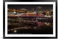 Swing Bridge at Night, Framed Mounted Print