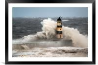 High Seas at Seaham, Framed Mounted Print