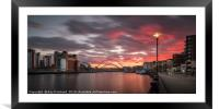 Sunset over the River Tyne, Framed Mounted Print