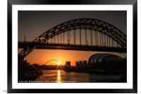 Tyne Bridge Sunrise , Framed Mounted Print