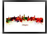 Glasgow Watercolor  skyline  , Framed Mounted Print