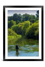 Fly Fishing ,River Itchen,Hampshire England, Framed Mounted Print