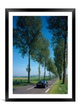 British car on French Road , Framed Mounted Print