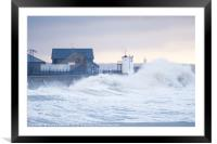 Stormy seas at Porthcawl, South Wales, UK., Framed Mounted Print
