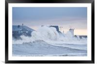 Stormy seas at Porthcawl, UK., Framed Mounted Print