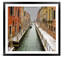 VENETIAN CANAL IN THE SNOW, Framed Mounted Print