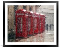 London Telephone Boxes, Framed Mounted Print
