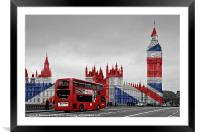Union Jack and Red London Bus, Framed Mounted Print