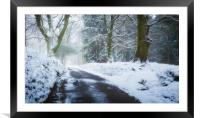 Snowy lane, South Wales, Framed Mounted Print