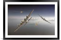 B17's and P51's taking evasive action, Framed Mounted Print