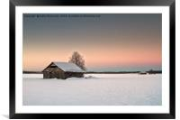 Lonely Barns On The Snowy Fields, Framed Mounted Print