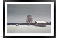 Snowy Road To The Forest, Framed Mounted Print