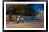 Lonely Scooter By The Street, Framed Mounted Print